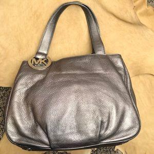 Metallic Silver Michael Kors leather Purse
